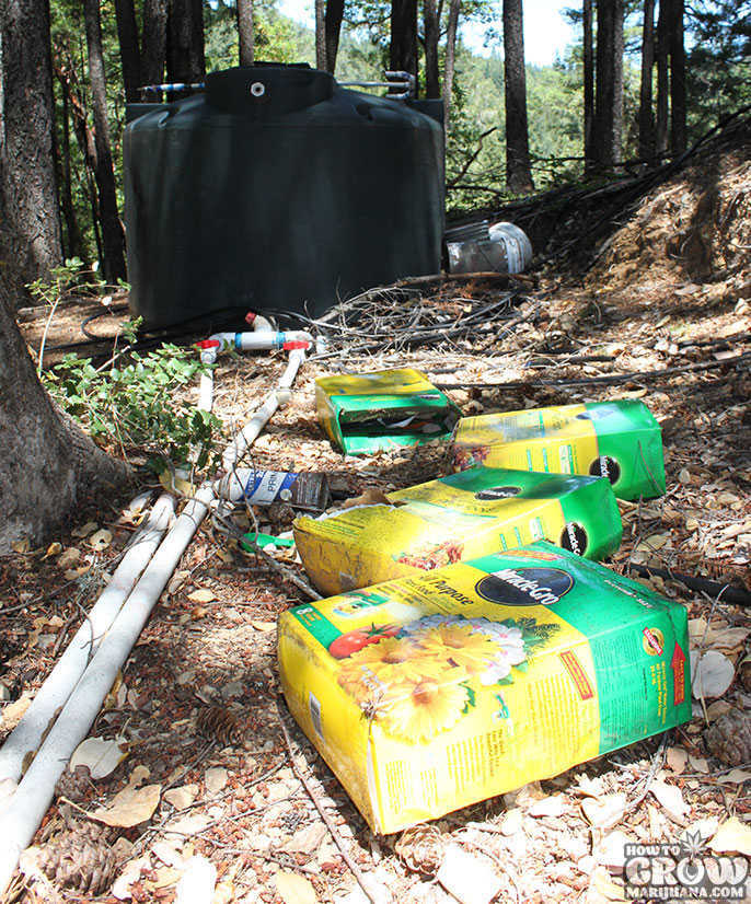 Fertilizer Garbage in Woods from Cannabis Grow