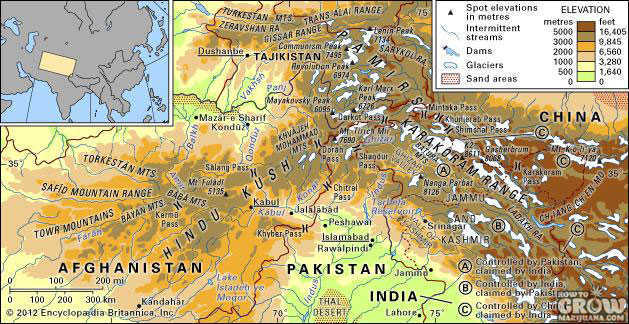 map of hindu kush
